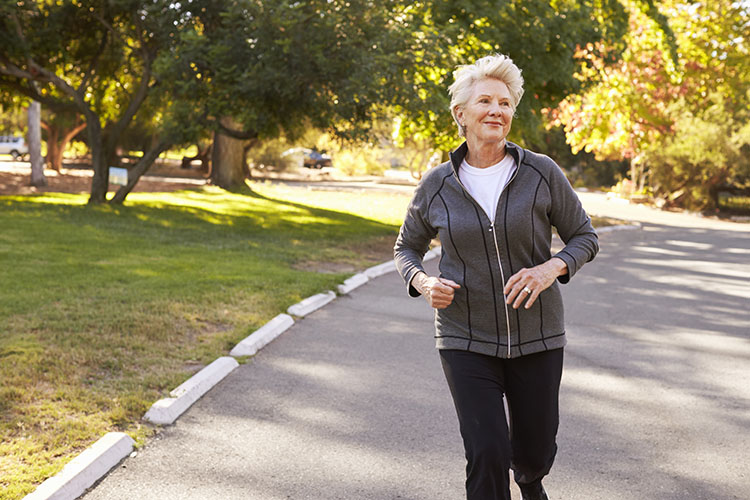elderly woman running after weight loss